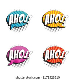 set of badges with word ahoj in retro comic speech bubble with strong shadow and halftone dotted shadows on white background