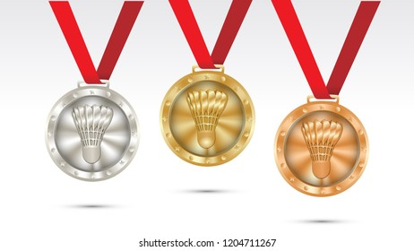 Set of badminton gold  silver and bronze medals championship vector illustration