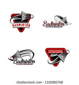 Set of badminton team design logo emblem template. Abstract sport badge vector illustration collection