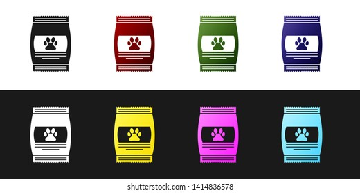 Set Bag of food for pet icon isolated on black and white background. Food for animals. Pet food package. Dog or cat paw print. Vector Illustration