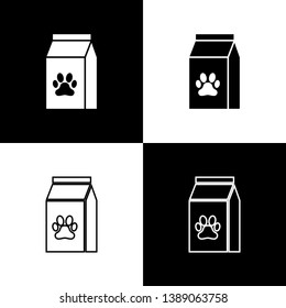 Set Bag of food for pet icons isolated on black and white background. Food for animals. Pet food package. Dog or cat paw print. Vector Illustration