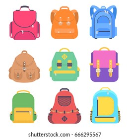 Set bag school flat isolated on white background. Pink backpack icon cartoon