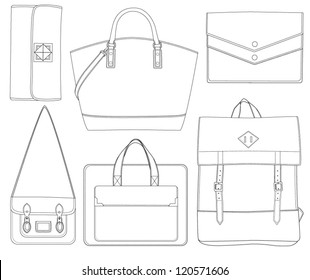 Set of bags. Different shapes of bag. Vector illustration. Bag icon