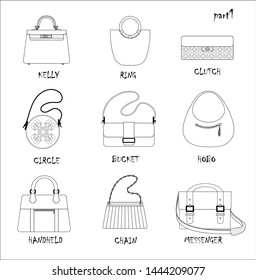 Set of bags. Different typs with titles. Royal, ring, clutch, circle, bucket, hobo,handheld, chain, messenger. Fashion style. Drawn linear design. Isolated objects on a white background.
