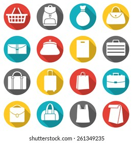 Set of bags icons, flat style icons in circles with long shadows. Vector illustration.