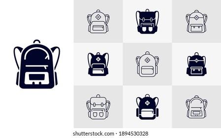 Set mit Tags für das Schulsymbol-Logo, Vektorvorlage, Konzepte von Bildungssymbolen, kreatives Design
