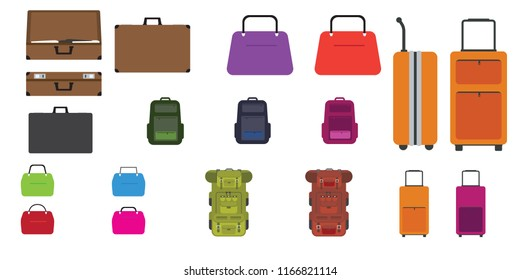 Set of bags. Travel bag, rucksack, woman bag and other bags with Flat design style. Vector illustration.