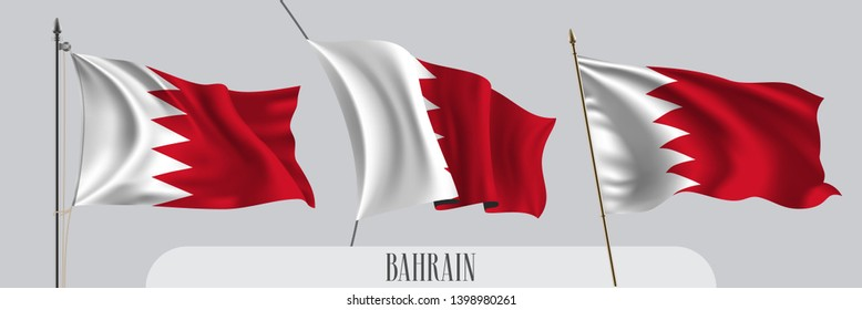 Set of Bahrain waving flag on isolated background vector illustration. 3 red white Bahraini wavy realistic flag as a patriotic symbol