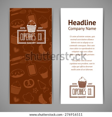 Set Of Bakery Business Cards Templates For Company Vintage Vector Illustration Your