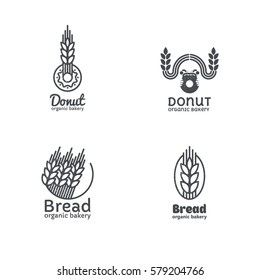 Set of bakery and confectionery logos, labels, badges and design elements