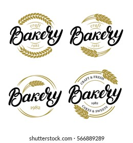 Set of Bakery hand written lettering logo, label, badge, emblem. Vintage style. Golden wheat. Isolated on white background. Vector illustration