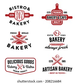 Set of bakery labels, badges and design elements, symbols look similar to logo