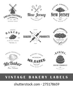 Set of bakery labels. Elements for design on the bakery theme. Collection of bakery symbols. Modern labels of bakery. Emblems and logos of bakery. Vector illustration