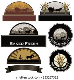 Set of bakery labels, farm labels, rice labels