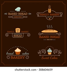 Set of bakery logos, labels, badges and design elements. Business signs templates, icons, identity design elements and objects.