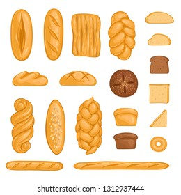 Set of bakery products. Bread, loaf, hala, baguette and rye bread in cartoon style. Vector illustration