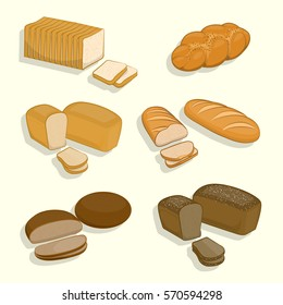 Set of bakery products on a white background. Fresh pastries, rye bread, wheat bread loaf, sliced for sandwiches and toast, bread. Vector Illustration for your projects.