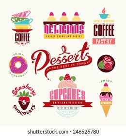 Set of  Bakery Tags and Emblems for cafe and bakery business.