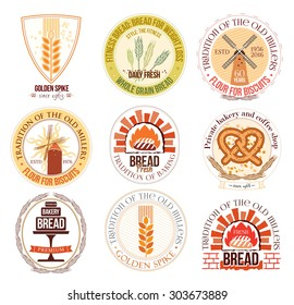 Set of bakery and wheat logo, labels and design elements. Labels and badges: tradition of baking, mills, bread, wheat.