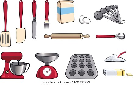 Set of Baking and Cooking Tools Ingredients Vector Illustration Isolated in White