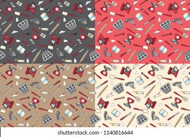 Set of Baking and Cooking Tools and Ingredients Seamless Vector Patterns