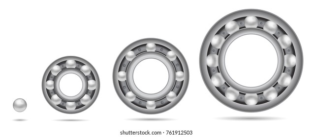 Set of Ball bearings. Vector illustration. Rare view. Isolated on white background.