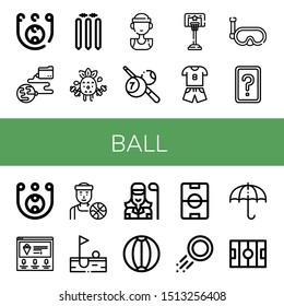 Set of ball icons such as Skee ball, Global network, Cricket stump, Exercise, Basketball player, Billiard, Basketball, Sport, Snorkel, Card game, Ice cream, Golf, Golfer , ball