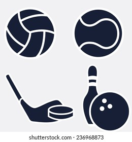 Set ball icons: volleyball, tennis, hockey, bowling on white background. Eps 10.