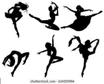 Set of ballerina silhouette