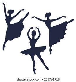 Set of ballerinas silhouettes on white background.