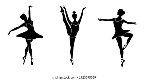 Set of ballet dancer silhouettes. Vector illustrations