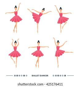 Set of ballet dancers poses. Women ballet icons, symbols. Elegance ballet postures vector illustration isolated on white background. Cartoon ballerina in pink tutu dress.