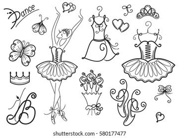 Set Of Ballet Design Elements