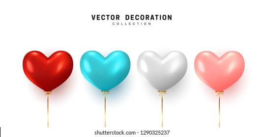 Set Balloon heart shape isolated on white background. Holiday element design realistic baloon with gold ribbon and bow