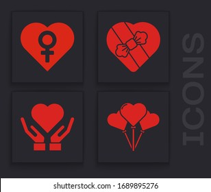 Set Balloons in form of heart, Heart with female gender, Candy in heart shaped box and Heart on hand icon. Vector