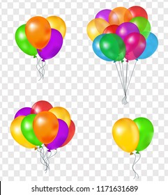 Set of balloons, vector 3D illustration on transparent background