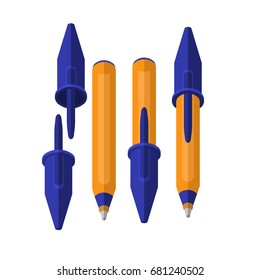 A set of ballpoint pens, pens for school children on a white background,  a school sale