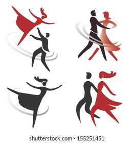 Set of ballroom, dancing and ballet icons. Vector illustration
