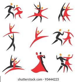Set of  ballroom, disco, ballet, modren dance colorful icons.