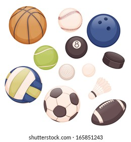 set of balls for different sports on white background, only twelve items