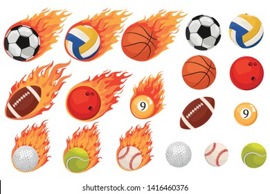 Set of balls in the flame. Collection of sports burning balls. Vector illustration of balls for play.