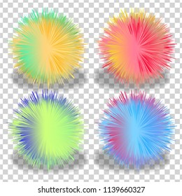 set of balls with fur effect. colorful shaggy ball. Colorful cartoon fluffy pompons. Fur balls. Vector isolated on white background. Funny fur balls for game design on a transparent background
