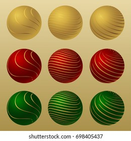 Set of balls with golden stripes