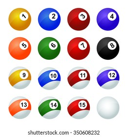 Set of balls for pool  /  glossy set of pool balls. Vector illustration  /  Set of snooker balls, eps10 illustration make transparent objects, isolated