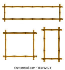 Set of Bamboo Frame on White Background. Vector Illustration.