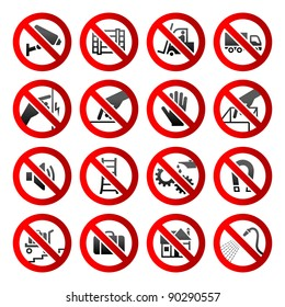 Set ban icons Prohibited symbols Industrial hazard signs Vector