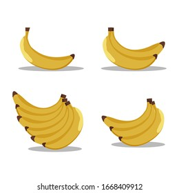 Set of banana vector designs with white background.