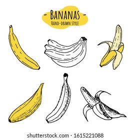 Set of bananas icons. Vector cartoon illustrations. Isolated objects on a white background. Hand-drawn style.