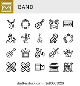 Set of band icons. Such as Drum, Pendant, Bracelet, Guitar, Drum set, Singer, Karaoke, Tambourine, Acoustic guitar, Cello, Jewelry, Band aid, Plaster, Drum kit , band icons
