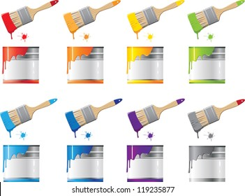 set Bank with a colorful paint and brush